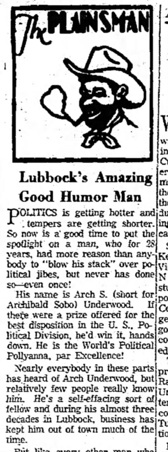 The Plainsman  Lubbock's Amazing Good Humor man - Lubbock's Amazing Good Humor Man pTOUTICS is...