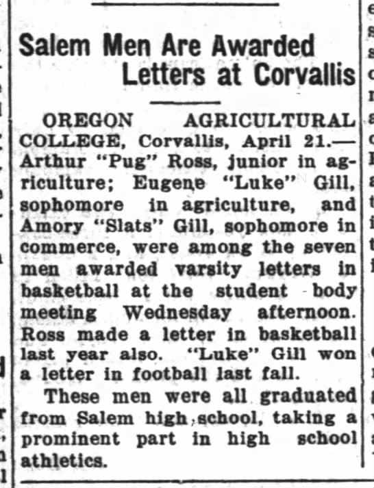 "Salem Men are Awarded Letters at Corvallis (OAC, Amory ""Slats"" Gill) -"