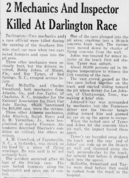 Death of three auto race attendants -
