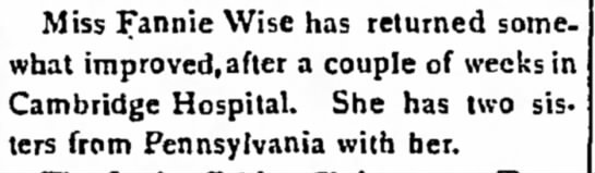 Fannie Wise home from Cambridge Hospital 1921 -