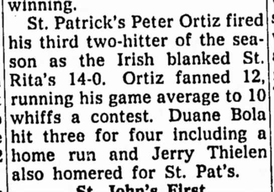 Jerry Thielen - Playing Little League for St. Pat's - Hits Home Run - August 1958 -