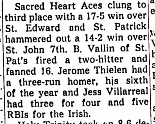 Jerome Thielen (Brother) St. Patricks Baseball Team Aug 1958 -
