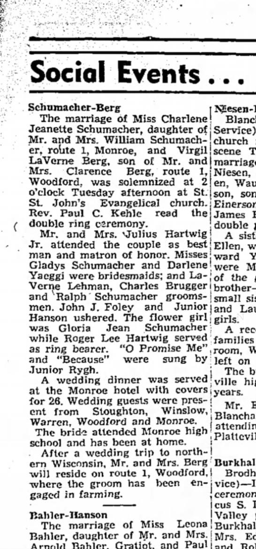 Schumacher Charlene 1947 Wedding Announcement Monroe Evening Times 12 Jun 1947 -