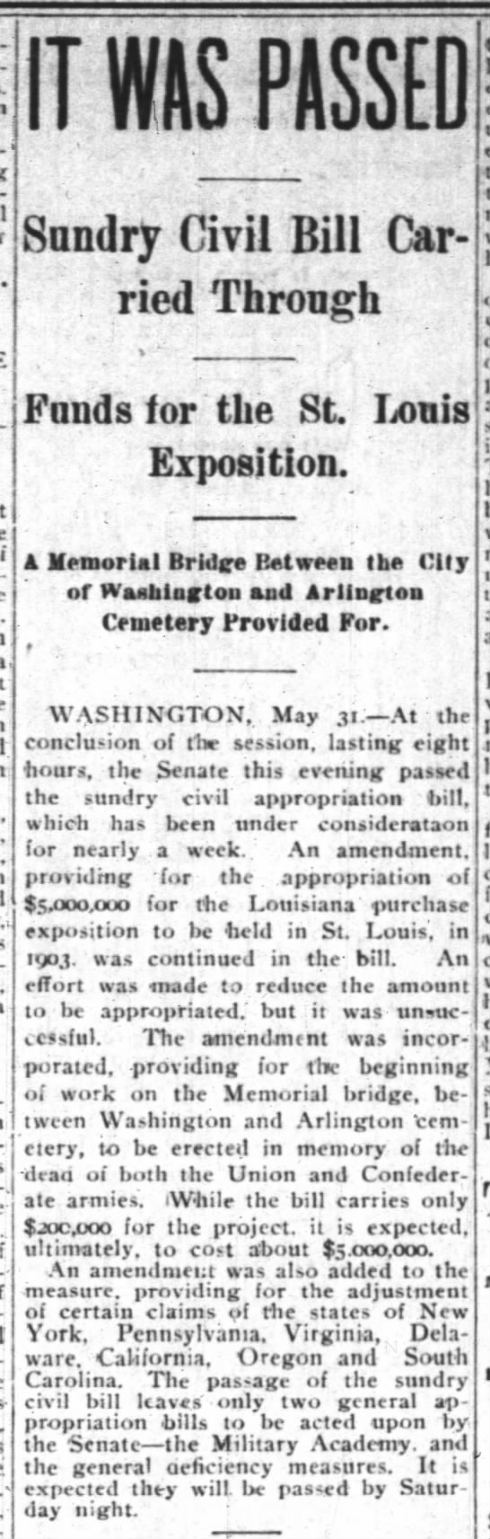 Funding for Louisiana Purchase Exposition Carried in Federal Appropriations Bill -