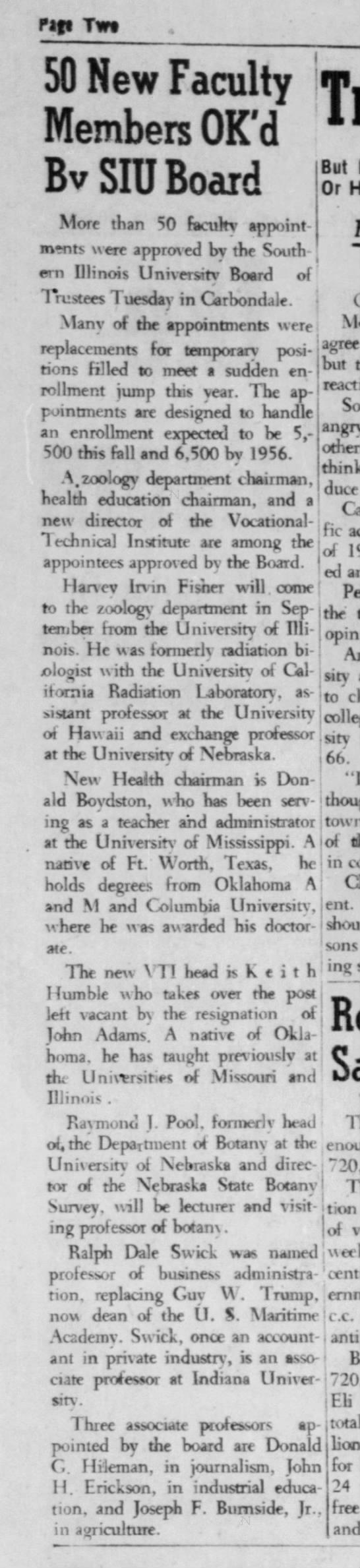1955-07-13 50 New Faculty Members OK'd by SIU Board -