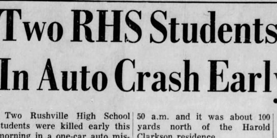- RHS Students Killed Auto Crash Early Today...