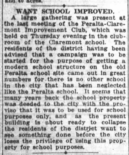 Want School Improved - Peralta - Oct 03 1914 -