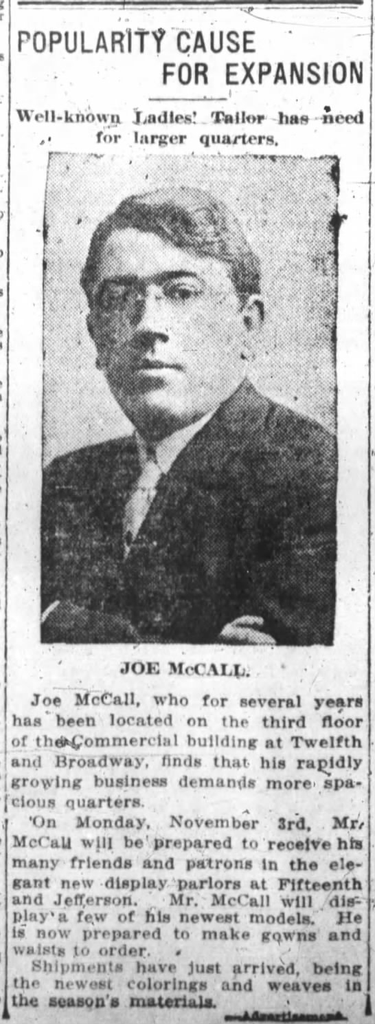 Joe McCall - moving to 15th and Jefferson for larger quarters -