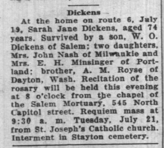 The Oregon Statesman (Salem, Oregon) 21 Jul 1936, Tue - Page 5 Sarah Jane Dickens -
