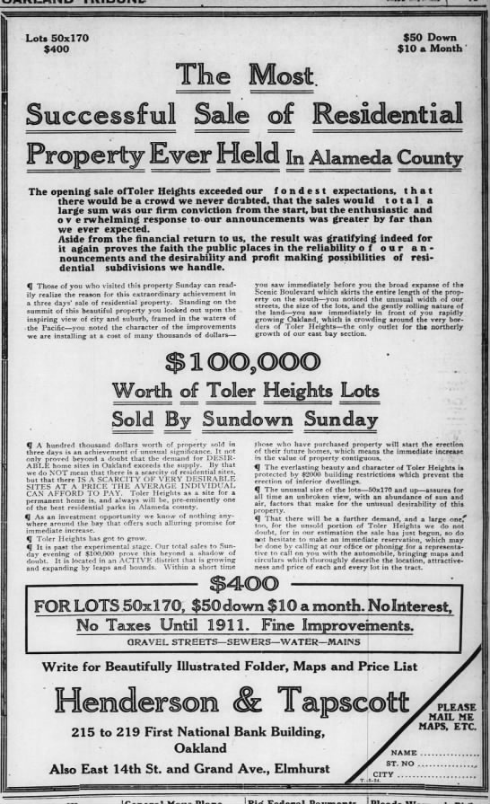 The Most Successfully Sale of Residential Property Ever Held May 24, 1910 -