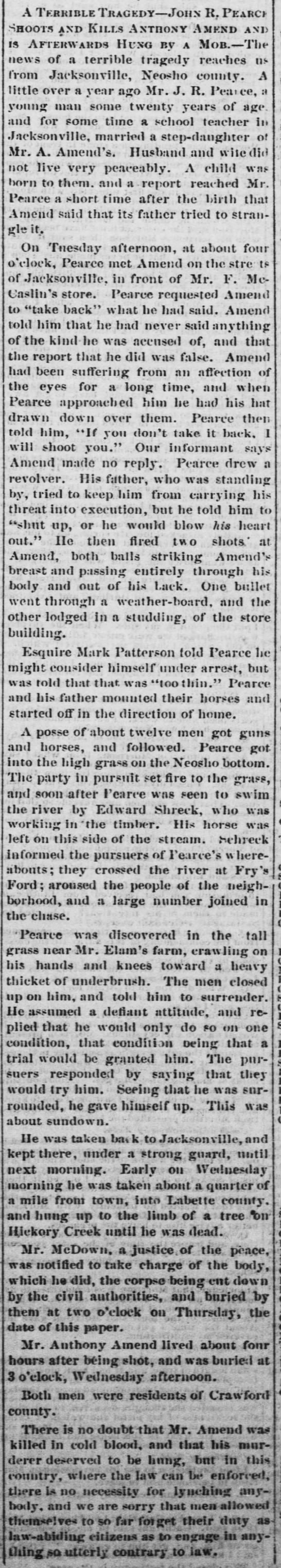 Anthony Amend murder and the lynching of John R Pearce. -