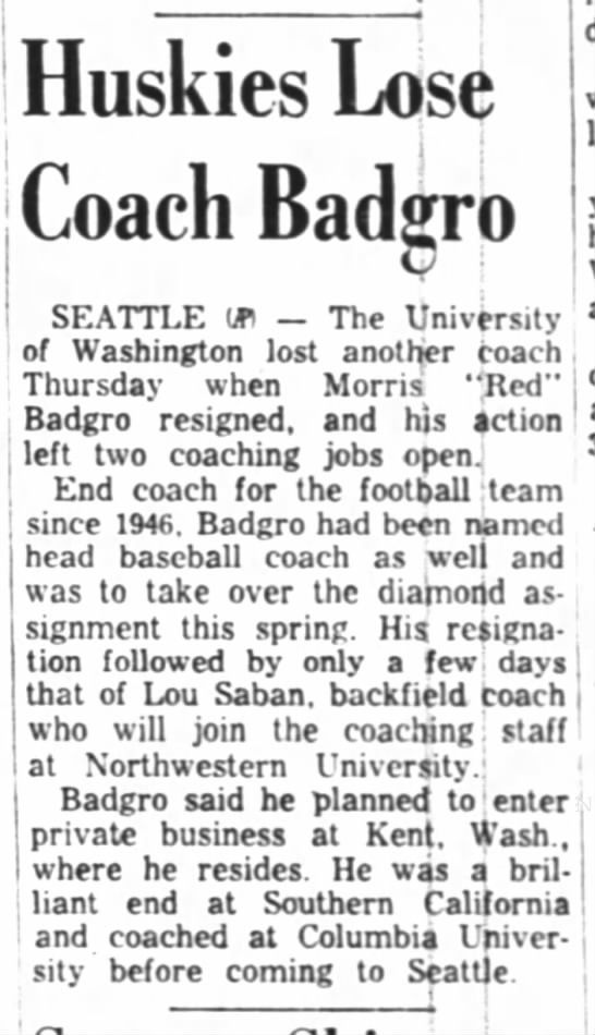 Huskies Lose Coach Badgro -
