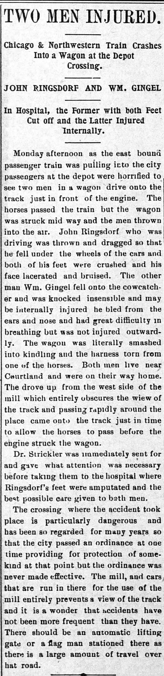 John Ringsdorf and William Gingel train injury -