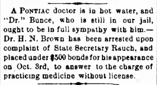Dr H N Brown - Pontiac, IL arrested without license -