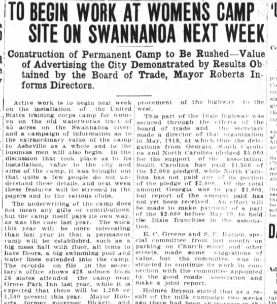 Waterworks- Asheville Citizen- May 14, 1921 -