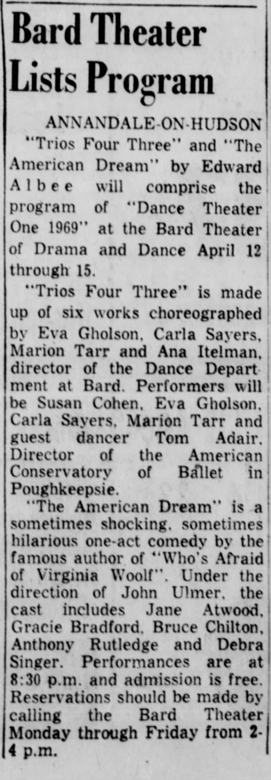 Bard Theater Lists Program. The Kingston Daily Freeman (Kingston, New York) 9 April 1969, p 10 -