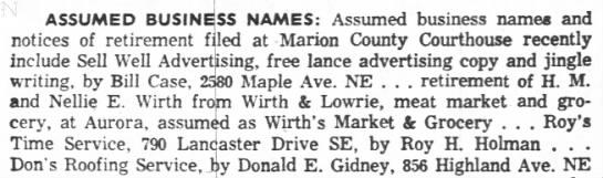 - ASSUMED BUSINESS NAMES: Assumed business names...