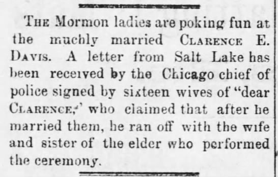 April 1, 1880 Atchison Daily Patriot (Kansas) Mormon ladies poking fun at Clarence -