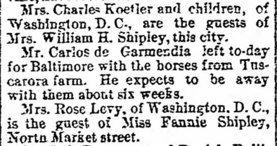 Kettler-Shipley Families Visit-The News Tuesday 1 Sep 1891 -