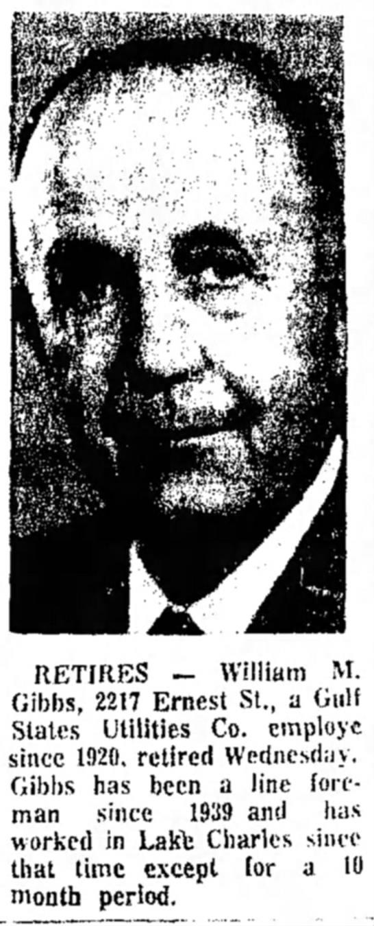 William M. Gibbs Retires -