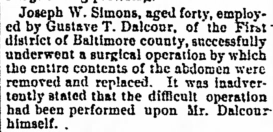 Joseph W. Simons 24 Nov 1891, Tue., Page 1 The News (Frederick, MD) Surgery -