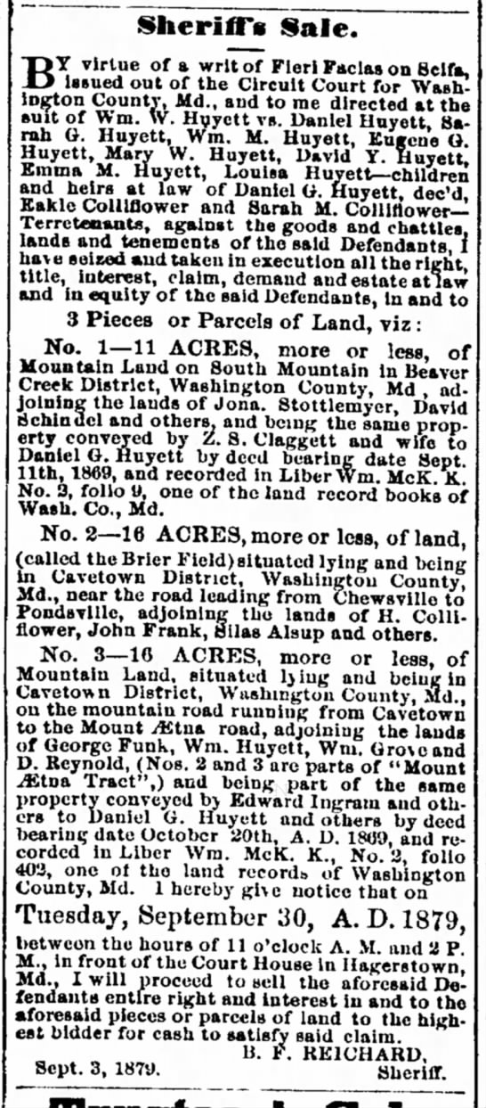 The Herald & Torch Light, Hagerstown Maryland, 17 September 1879 -