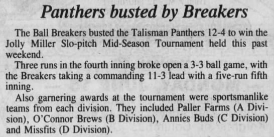 1992 Jolly Miller Mid-Season Results -