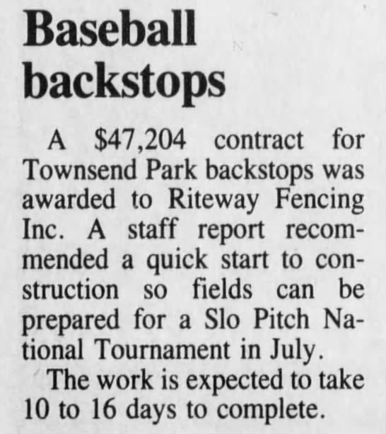 Townsend Park Backstops Installed -