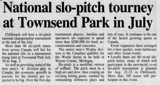 National Slo-Pitch Tourney at Townsend -