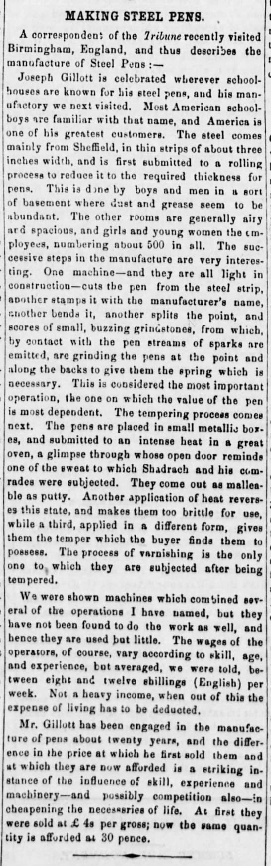 1859 - Making Steel Pens - Gillott, from Tribune -