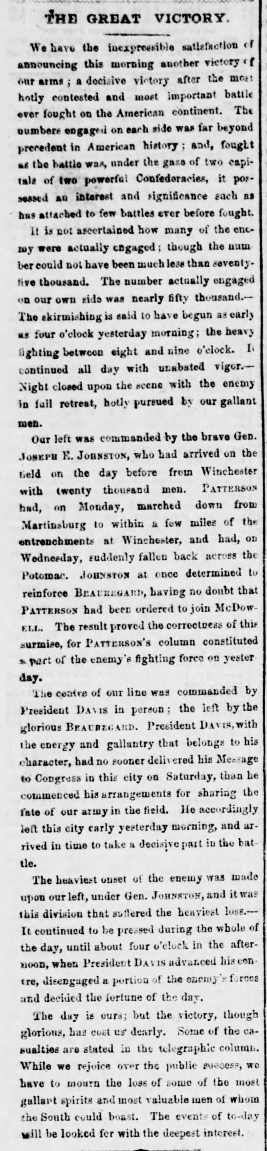 Richmond newspaper reports on the Confederate victory at First Manassas (Bull Run) - GREAT VICTORY We bay o ihe iue_pre*>itie...
