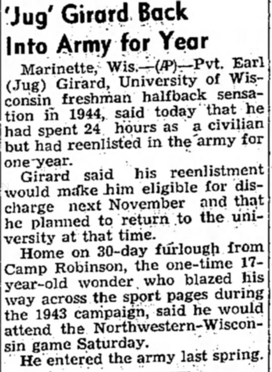 Jug Girard Back Into Army for Year -