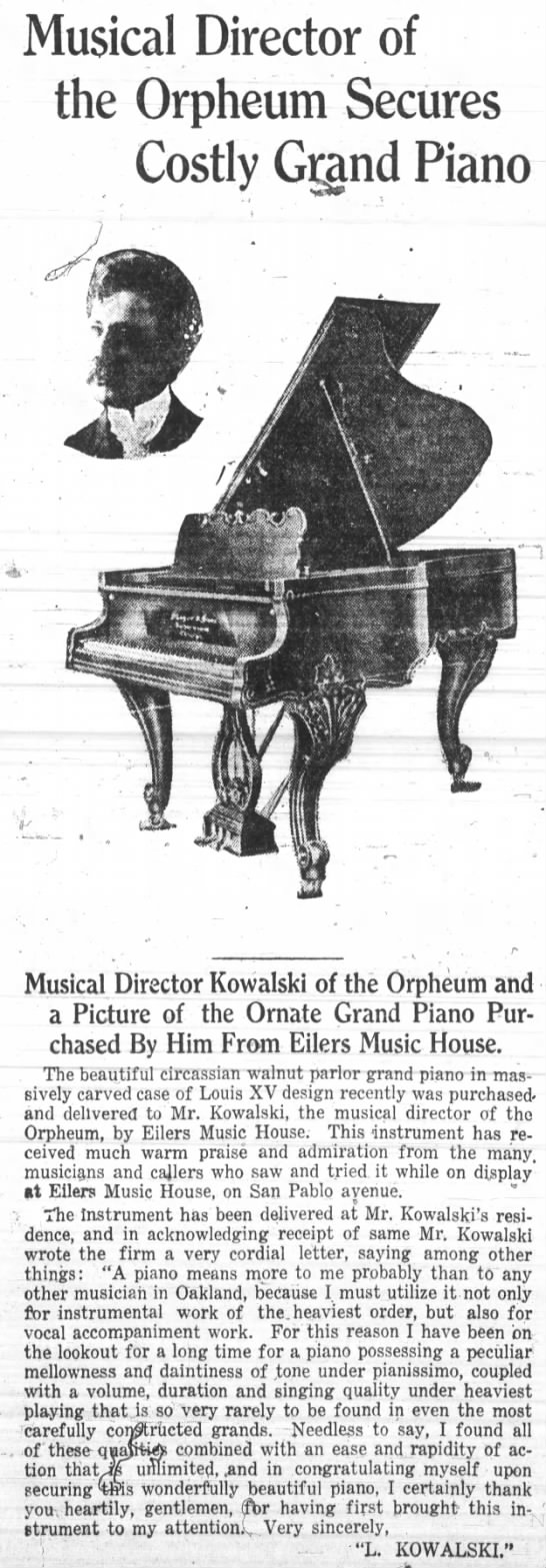 Eilers Music House - director of Orpheum purchases grand piano -