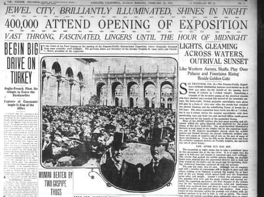 Opening of Panama-Pacific International Exposition -