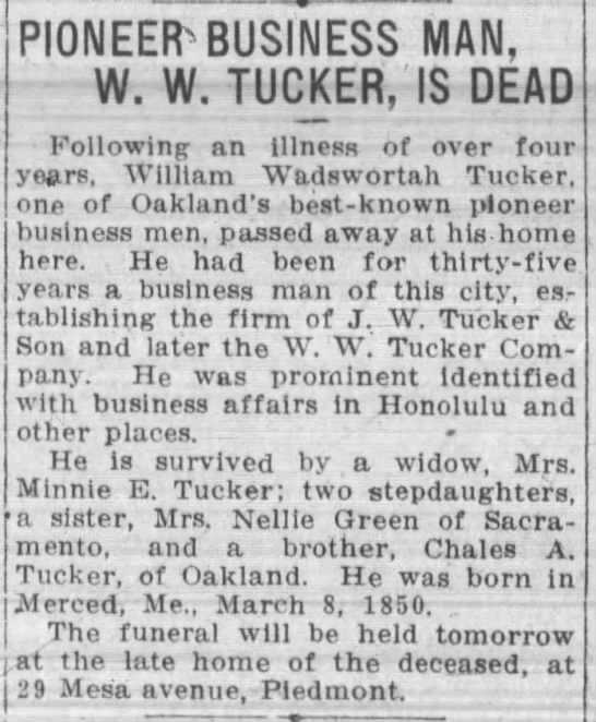 W.W. Tucker obituary -- founder of J.W. Tucker, W.W. Tucker Co. -