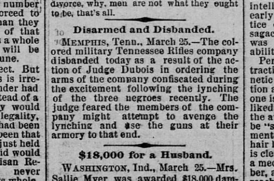 """colored military Tennessee Rifles"" disarmed March 25, 1892 -"