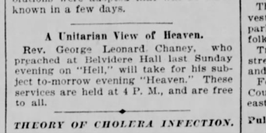 1893.02.11 Article Rev Chaney Preached at Belvidere Hall -