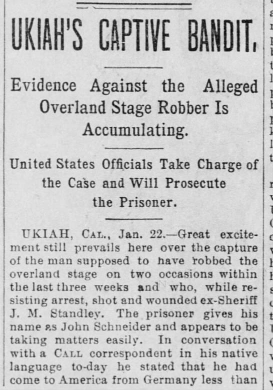Ukiah's Captive Bandit - Jan 22, 1886 -