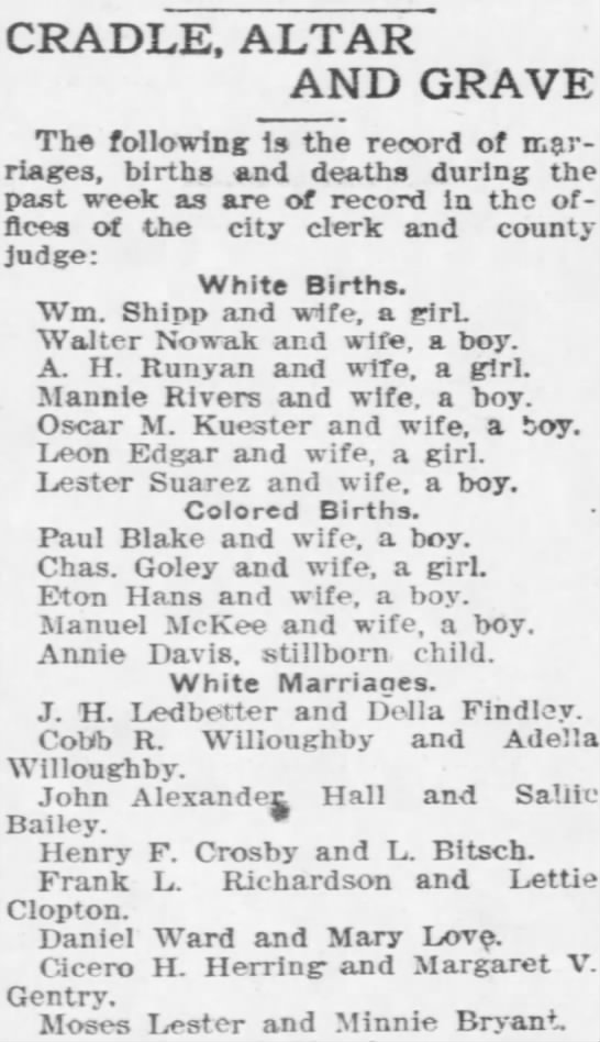 Marriage of Margaret Gentry to Cicero Herring September 1909 -