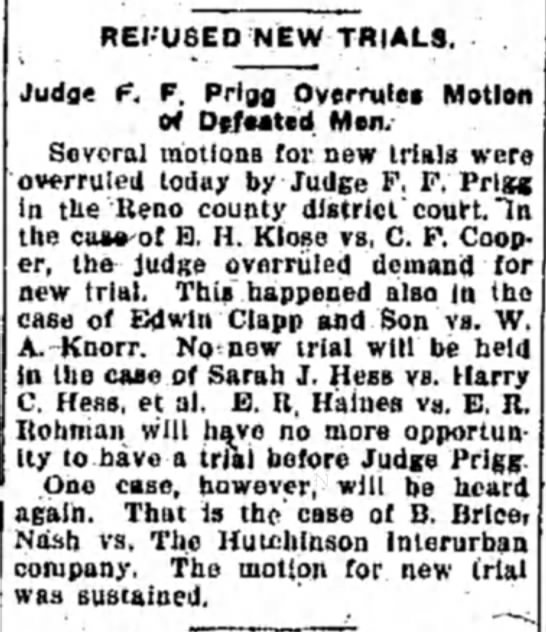 E. H. Klose; refused new trial -
