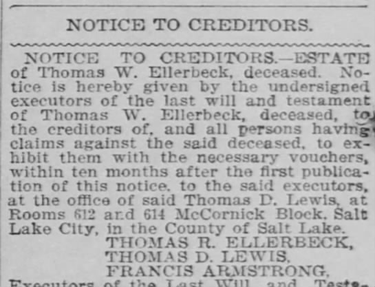 Public Notice of Death to creditors - Newspapers com