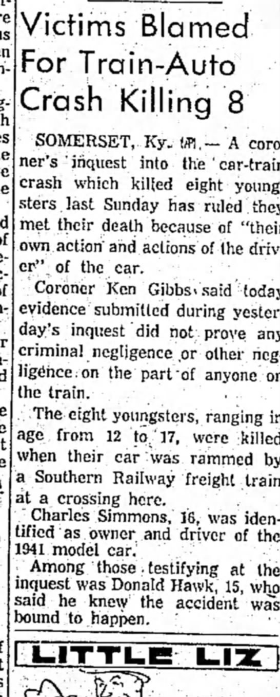 Follow Up To Accident Investigation27 July 1957 -