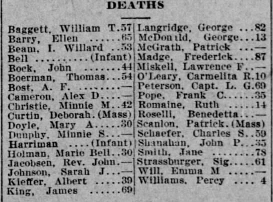 Deaths from the 1908 San Francisco earthquake -