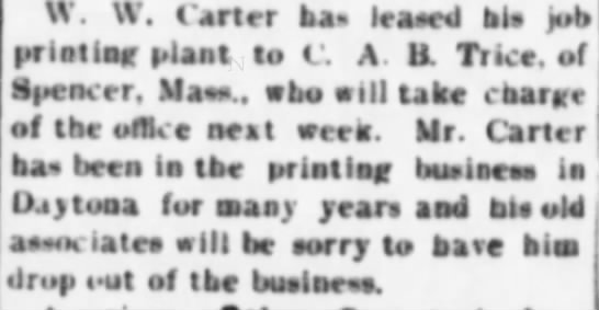 - W W Carter ba leased his bl job jobprinting...