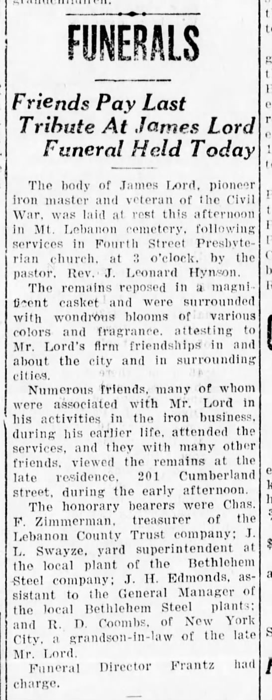 Lebanon Evening Report  Apr 25, 1923 Funeral of James Lord -