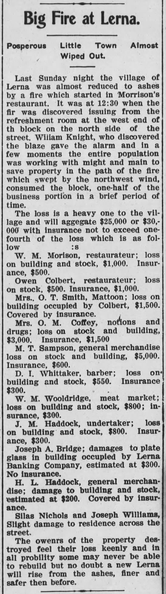 Lerna Fire May 31 1906 MTN Commercial -