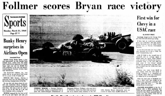 690331 Follmer race 1 - Follmer scores Bryan race victory Monday, March...