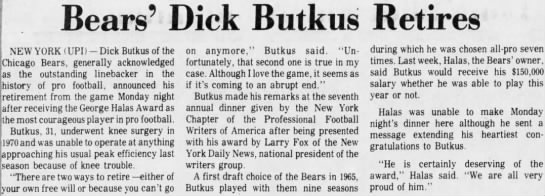 Bears' Dick Butkus Retires -