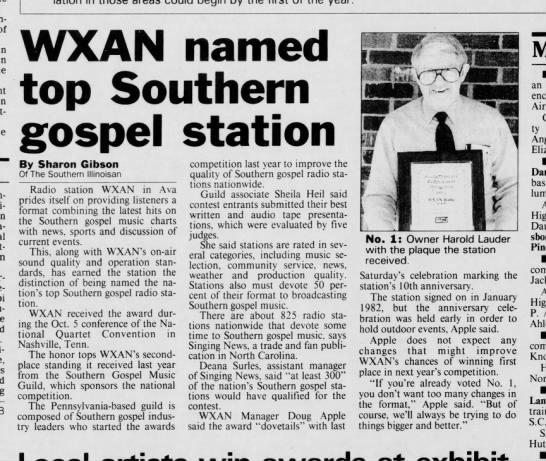 1991-10-17 WXAN Named Top Southern Gospel Station - Newspapers com
