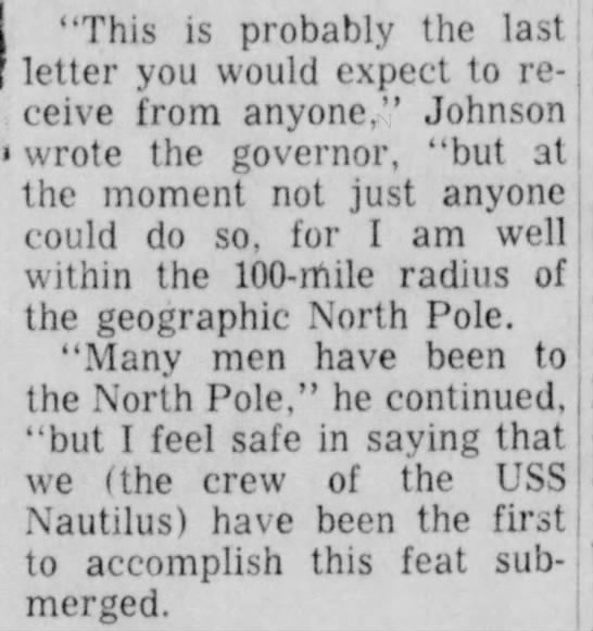 "Excerpt from the letter of Nautilus crewman James Johnson - 1 ""This is probably the last I letter you would..."